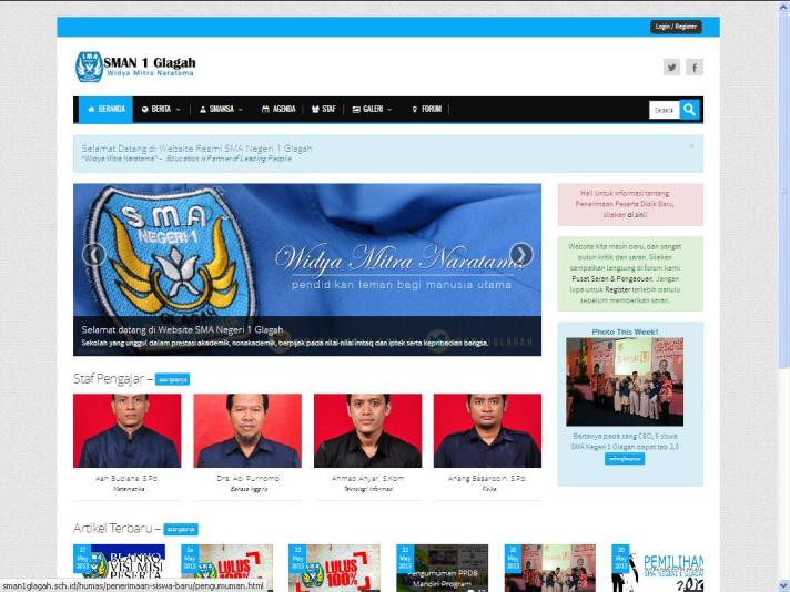 Website resmi SMAN 1 Glagah